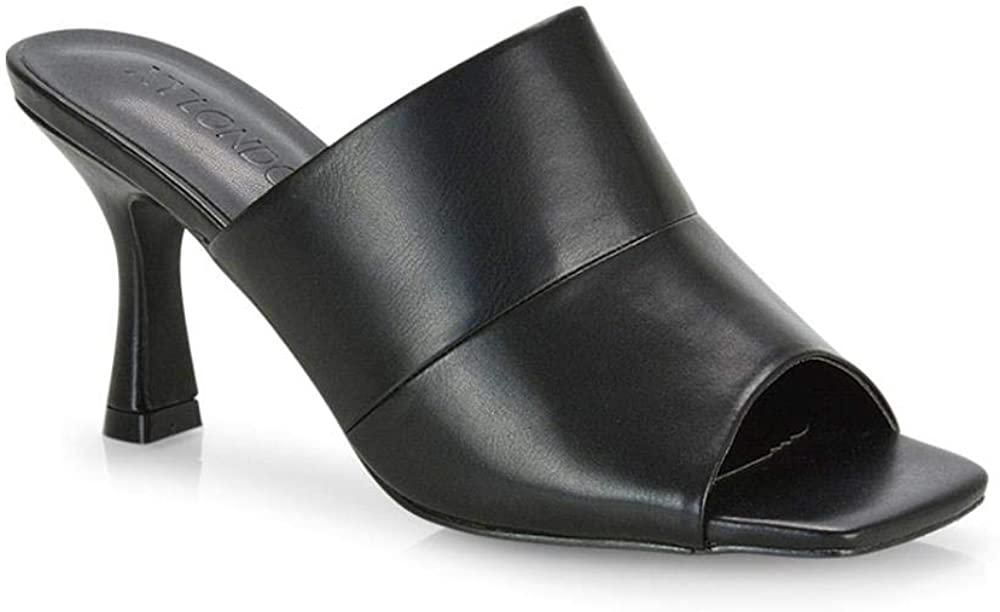ESSEX GLAM Womens Low Heel Shoes Ladies Slip On Peep Toe Evening Mule Sandals