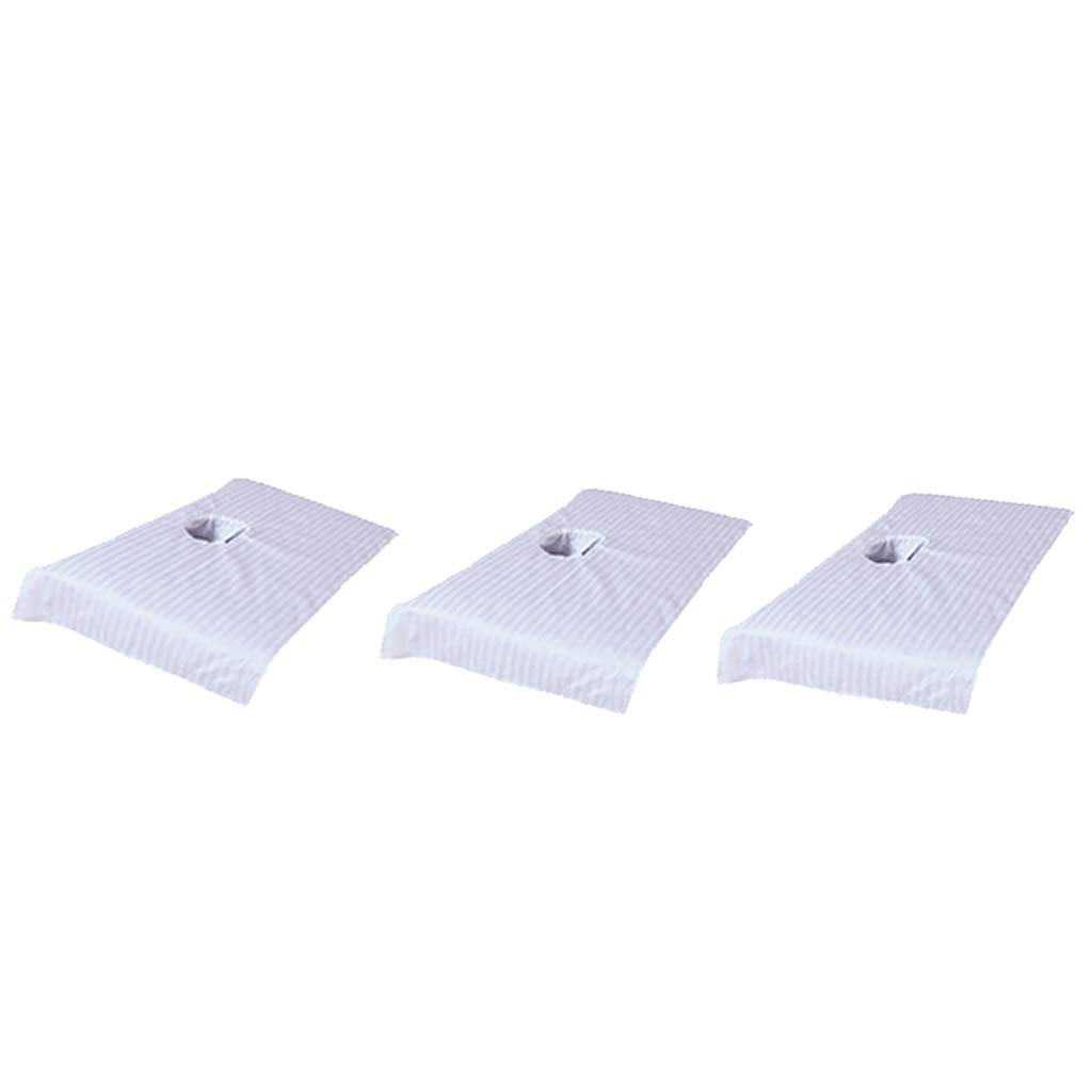 3pcs Short Massage Table Cover Beauty Bed Face Hole Towelling Sheet Pure Cotton 20x32inch - White