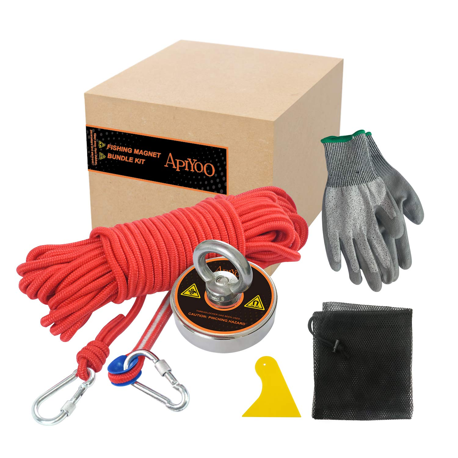 410lbs (185KG) Super Strong N52 Fishing Magnets(D60), with 49ft Thick Durable Rope, a Pair of Level 3 Anti-Cut Gloves,2 Hooks,1 Scraper and 1 net Pocket, Salvage Magnet to Hunting Underwater Treasure