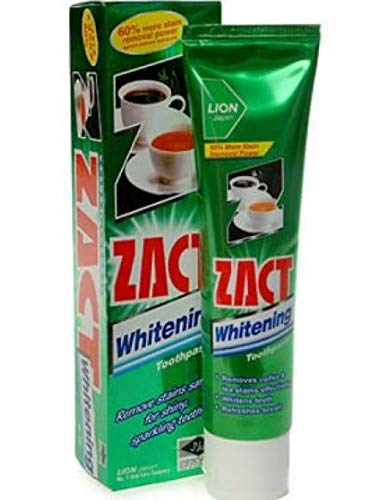 #MG ZACT Whitening Toothpaste 150g -Removes tough stains such as coffee, tea and tobacco and with fluoride to help fight cavities and prevent plaque build-up.