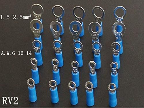 Onvas 50pcs/lot Round pre-insulated ends RV2-3-3.5s-4s-5s-6-6S-8-10-12 Cold-pressed terminals 1.5-2.5 square - (Color: RV2-10)