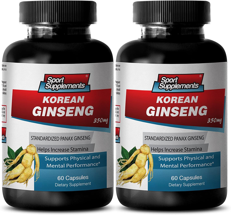 Korean Red Ginseng Extract Liquid - Korean Ginseng 350mg -Korean Ginseng Herbal Enhancement to Improve Stamina and Increase Sexual Desire (2 Bottles 120 Capsules)