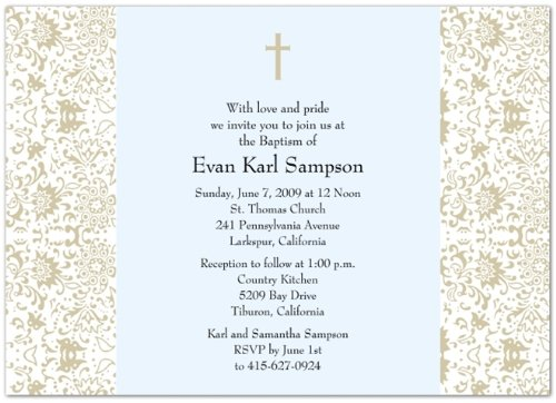 Vintage Floral II Taupe & Blue Baptism Invitations Christening Invitations - Set of 20