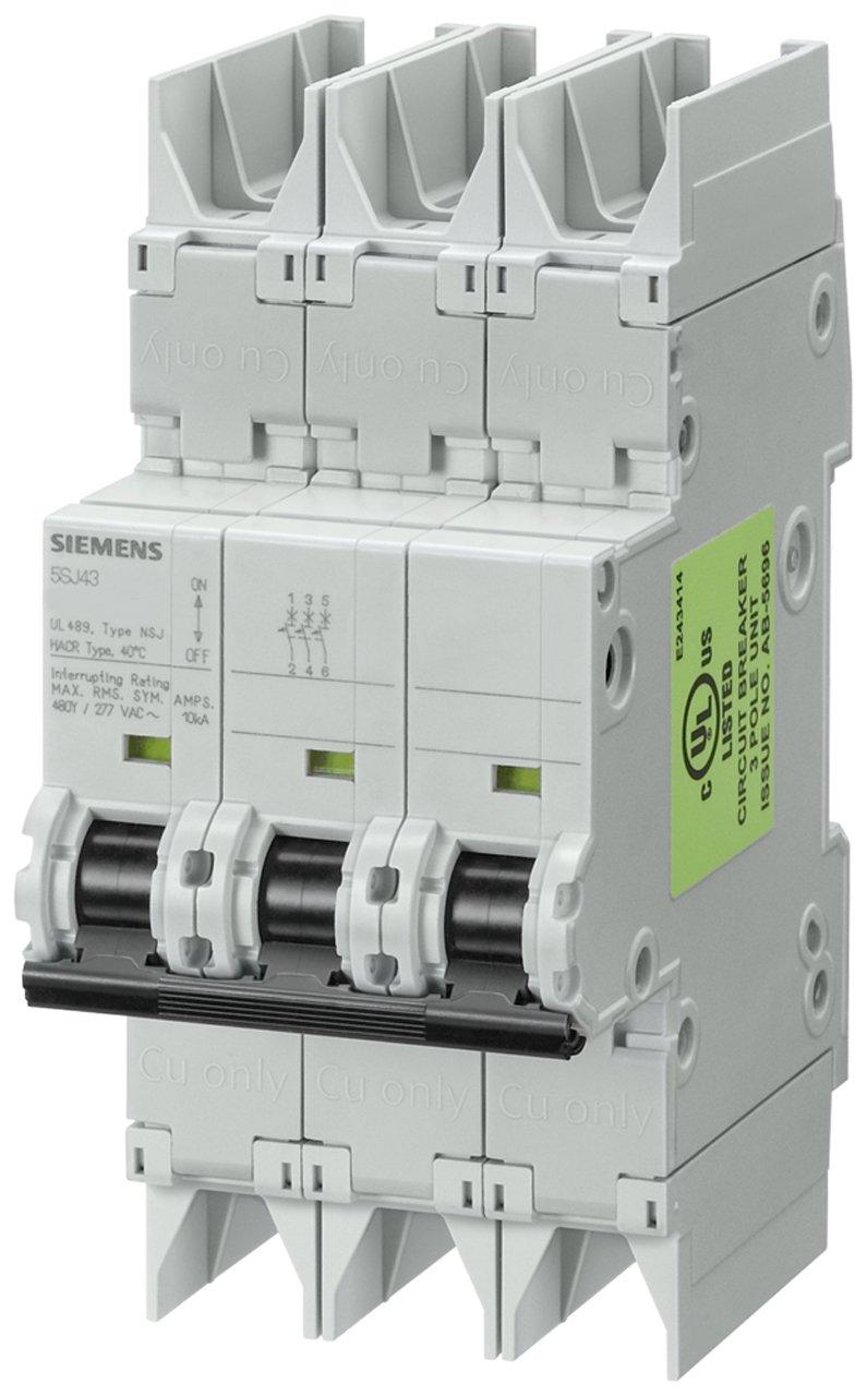 Siemens 5SJ43188HG42 Miniature Circuit Breaker, UL 489 Rated, 3 Pole Breaker, 15 Ampere Maximum, Tripping Characteristic D, DIN Rail Mounted, Type NSJ, 480Y/277 VAC, 125 VDC
