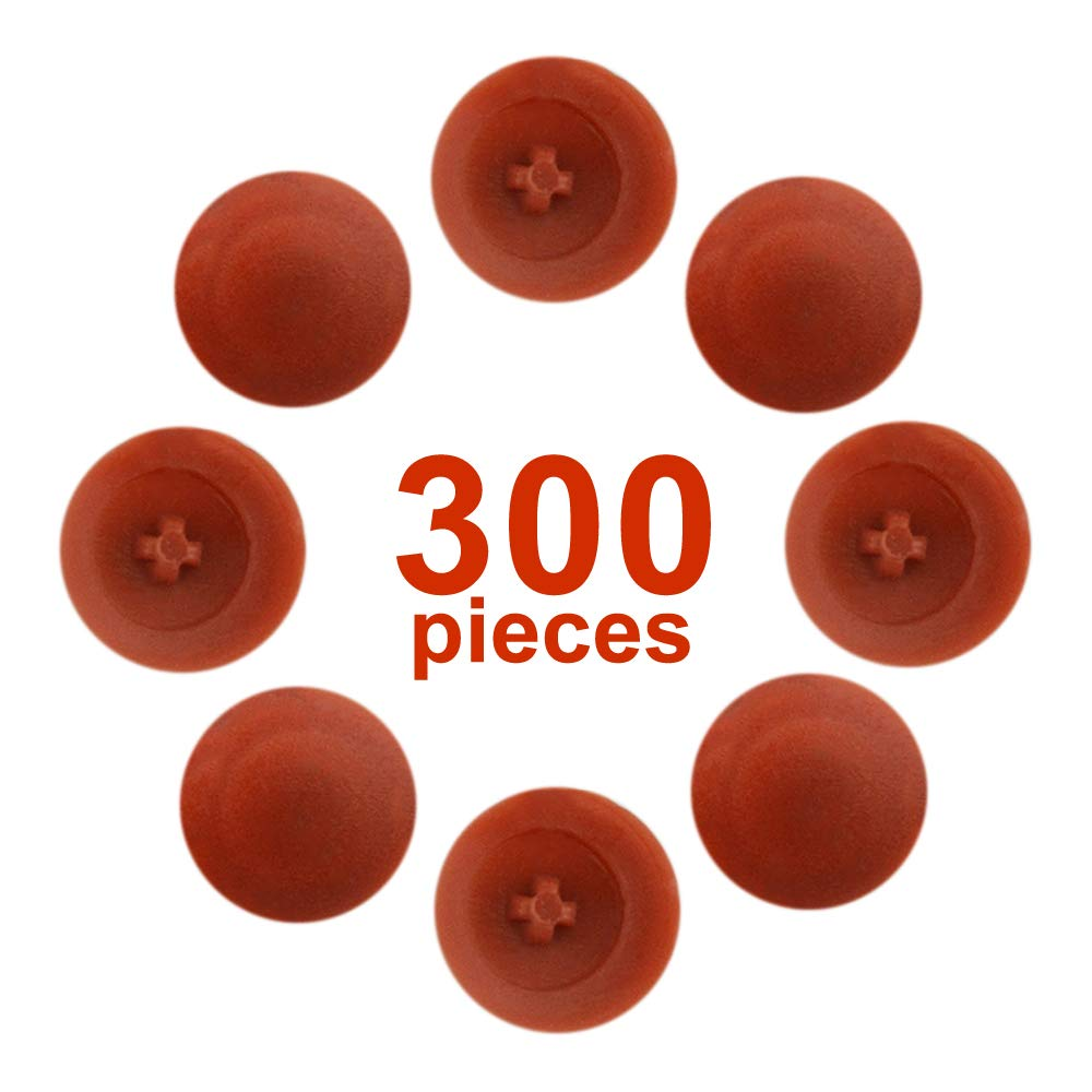 TOVOT 300 PCS Screw Cap Covers Self-Tapping Plastic for Phillips Screw -Red-Brown