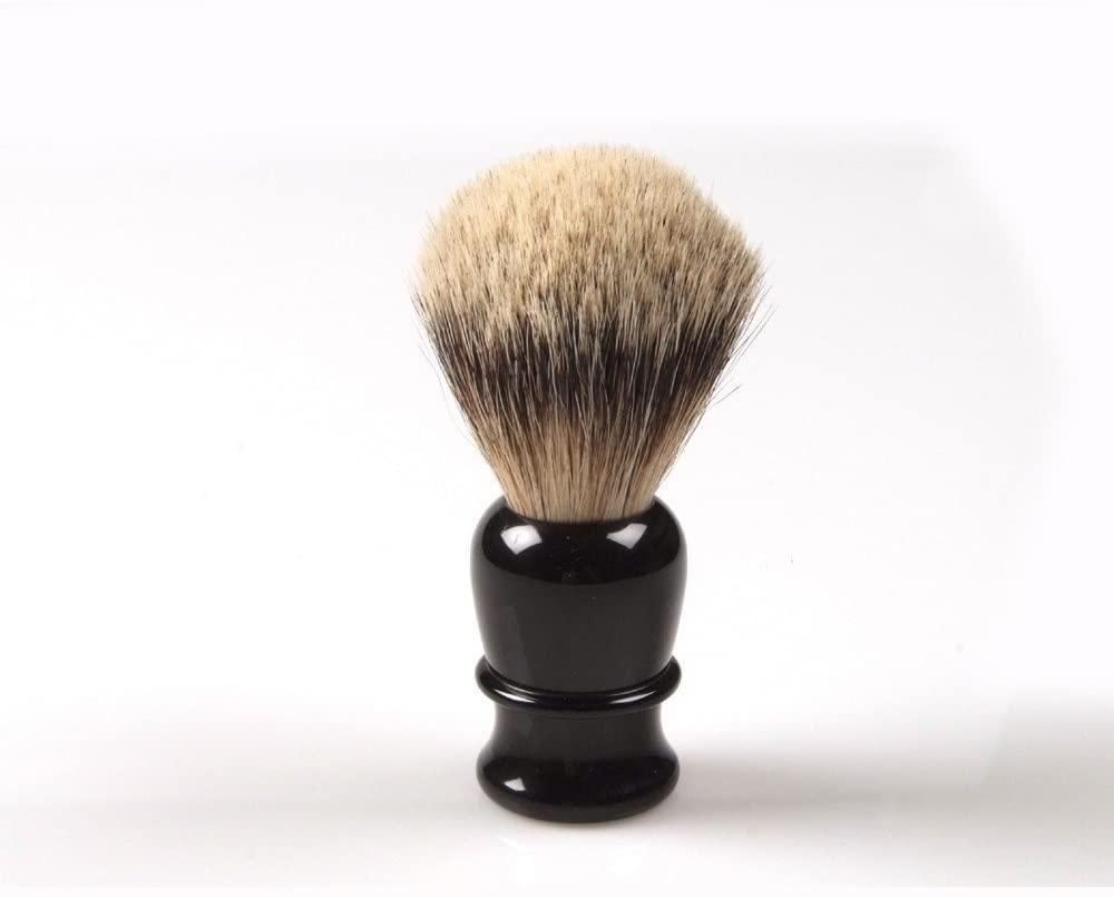 Shaving brush, hand turned, black plastic handle direct from France
