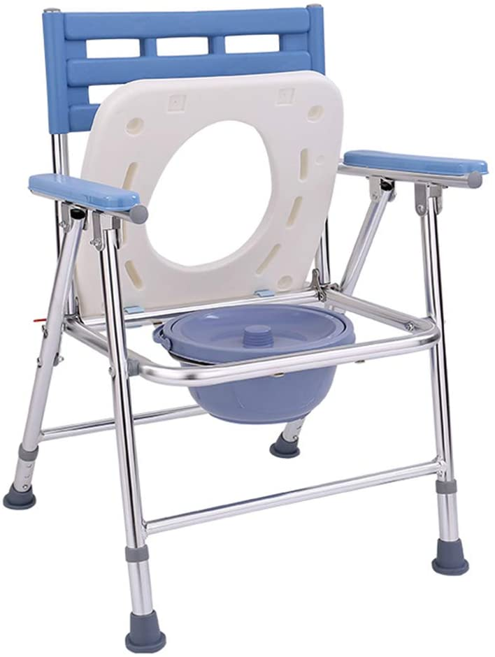 Folding Bedside Commode Bathroom Shower Chair Safety Frame Toilet Seat for Elderly Disabled People Pregnant Women Medical Toilet Chair