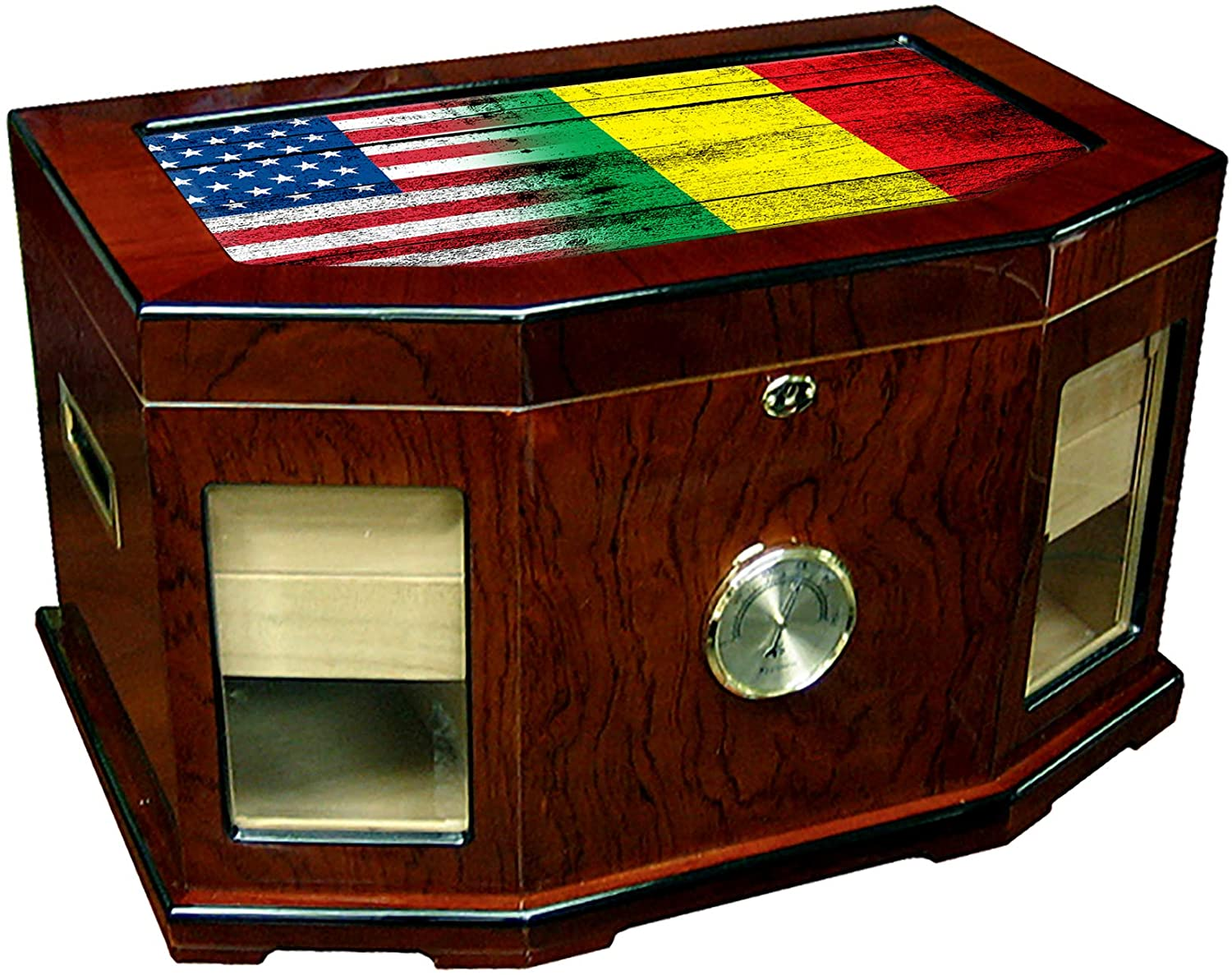 Large Premium Desktop Humidor - Glass Top - Flag of Mali (Malian) - Wood with USA Flag - 300 Cigar Capacity - Cedar Lined with Two humidifiers & Large Front Mounted Hygrometer.