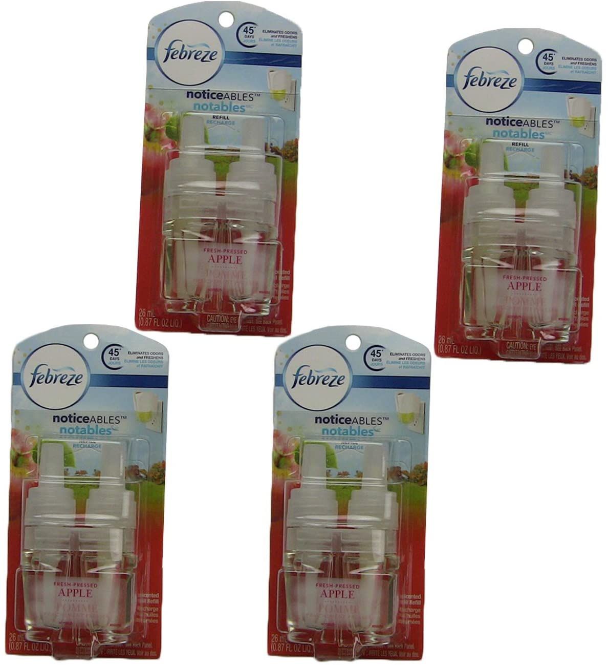 Febreze NOTICEables ~ Fresh Pressed Apple ~ Oil Refill Air Freshener - (4 Pack, 0.87 oz)