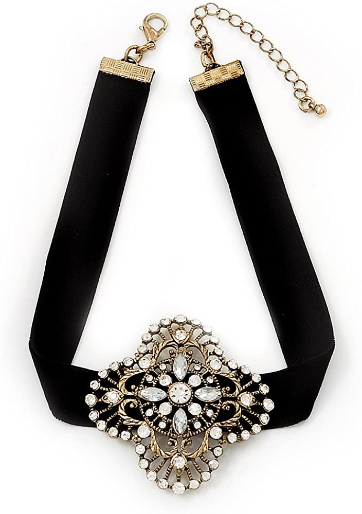 Avalaya Black Velour Ribbon Diamante Filigree Cross Choker in Burn Gold Tone Metal - 29cm Length (7cm Extension)