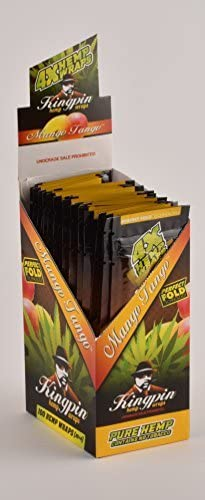 100 Wraps Display Natural Kingpin Hemp Wraps Mango Tango Flavor (25 Packs of 4) Made of Pure Hemp Non Tobacco + Limited Beamer Smoke Sticker