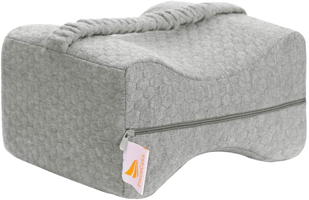 PiccoCasa Knee Pillow for Sleeping Body Knee Pillow, Leg Pain, Hip Pain and Memory Foam Wedge with Adjustable Strap Cover and Bag Gray