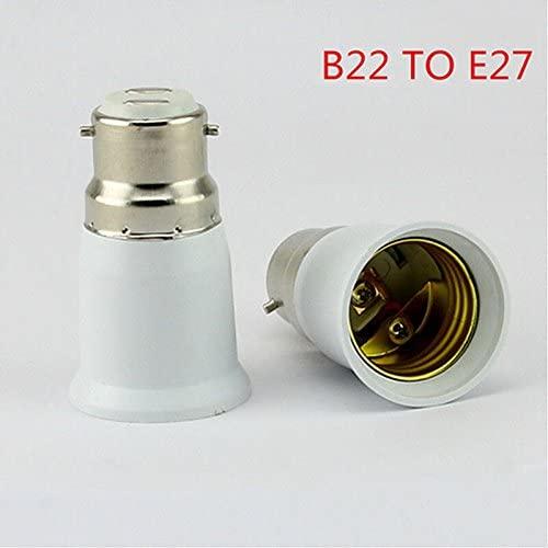 HUIFEIDEYU B22 to E27 White LED Light Lamp Bulb Socket Base Bulb Holder Converter Light Bulb Base Lamp Socket Adapter Edison Screw to Bayonet Cap