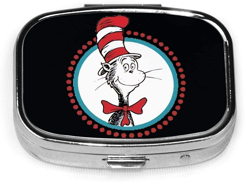 Wehoiweh The Cat in The Hat 2.2x1.6x0.7 Inch Mini Medicine Box, Full Size Printing is Easy to Carry