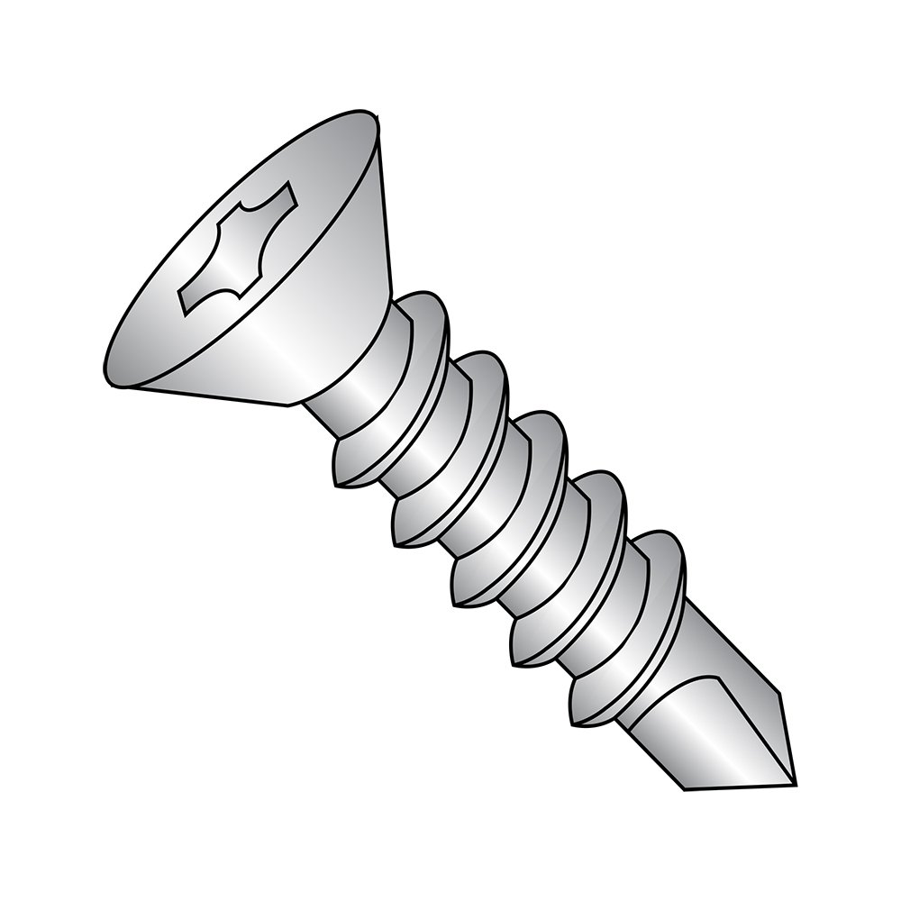 410 Stainless Steel Self-Drilling Screw, Plain Finish, 82 Degree Flat Head, Phillips Drive, #3 Drill Point, 1/4