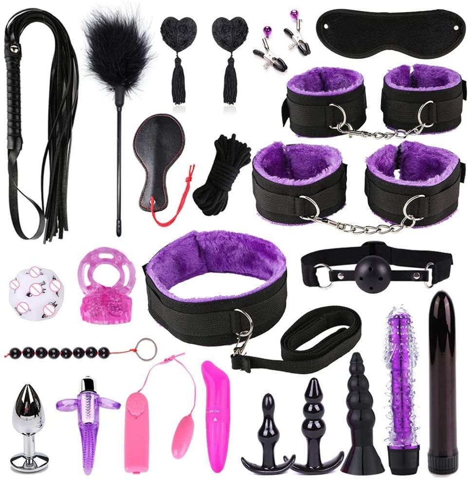 XANGLO Erǒtíc Bondage Set Vǐbrǎtor Αṇɑl Plǔg Handcuffs Collar Blindfold Whip Nípplě Clamps Cọuples Flírt BdS-M S-M Ǎd-ULT Game Ṡěx Tǒy