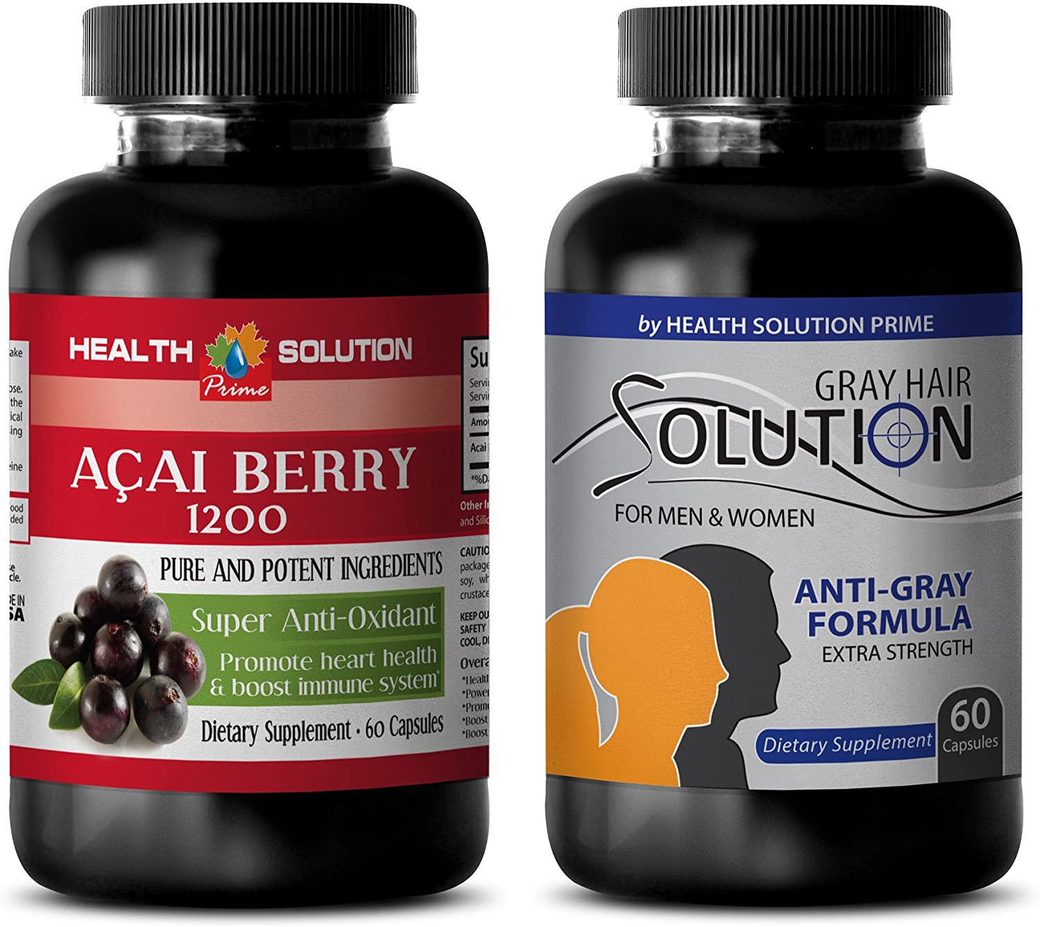 antioxidant Natural Greens - ACAI Berry - Grey Hair Solution - zinc Copper - 2 Bottles Combo 120 Capsules
