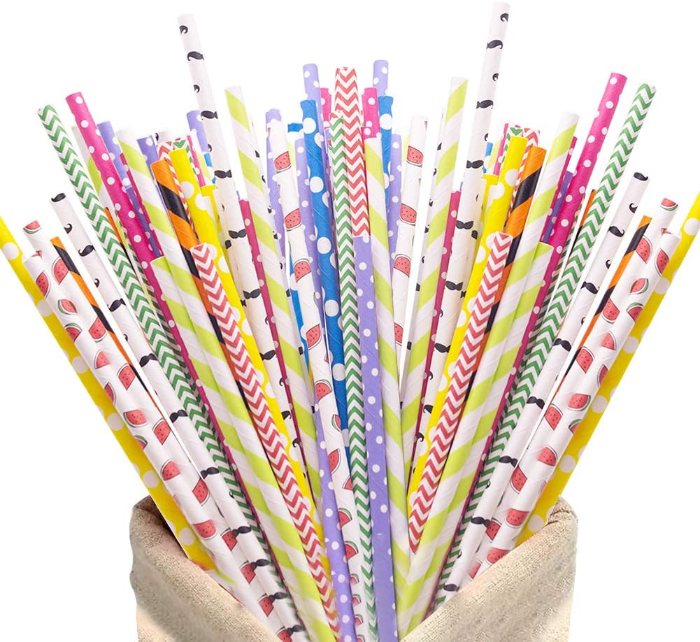 200Pack Biodegradable Paper Straws,10 Different Pattern Cute Cool Juices, Shakes, Cake Pops, iced coffee,Party Supplies and DIY Decorations