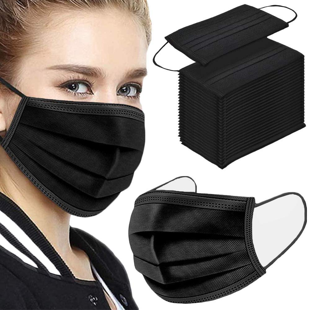 50PCS 3 ply black disposable face mouth protection mask for Individual and Family Use for Indoor Outdoor Home Office Travel