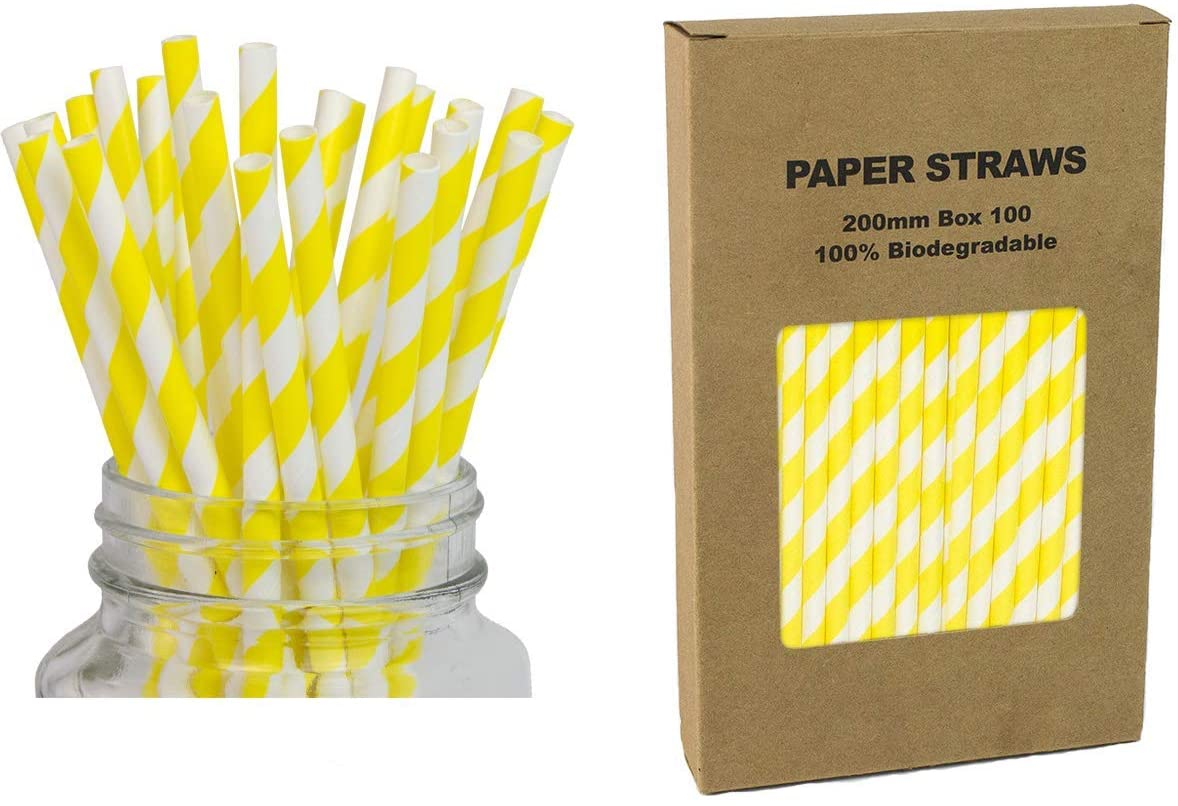 Paper Straws Yellow Striped - Box of 100 - Biodegradable Paper Sticks for Cake Pops, Candy Apples, Lollipop, Mason Jars