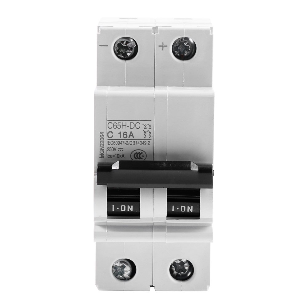 DIN Rail Mount Circuit Breaker 250V DC,2 Pole Miniature Leakage Protection Breaker,Safety Overload Short Circuit Protection Air Switch, Solar Wind Energy Switch Etc(16A)