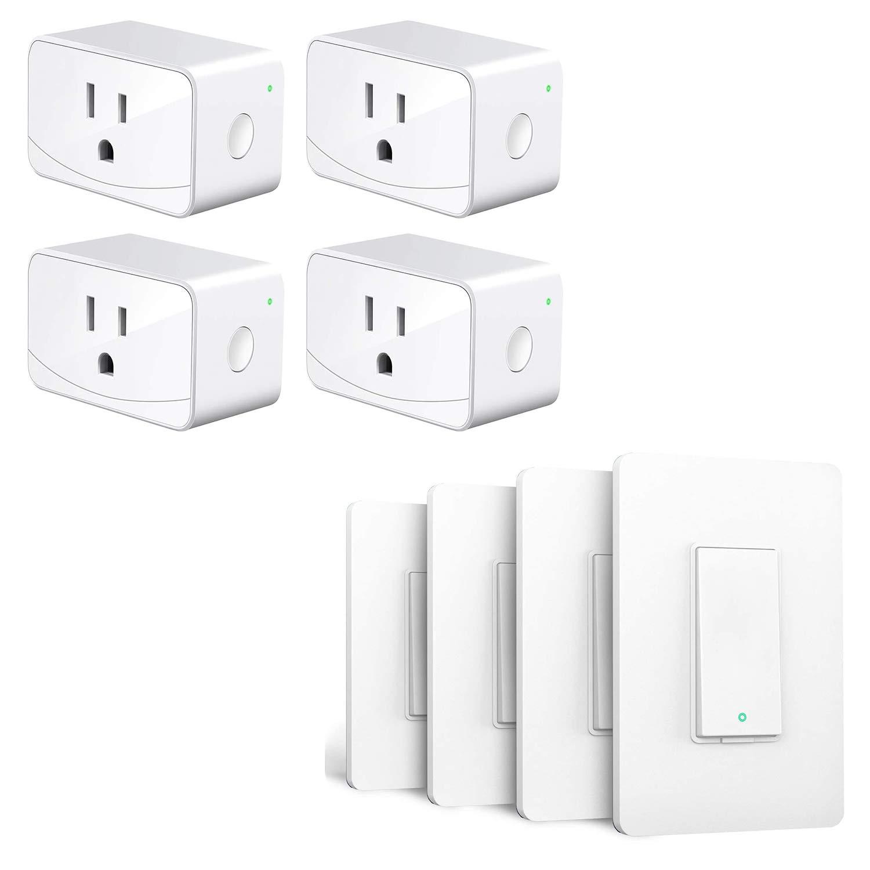 meross Smart Plug 4 Pack+Smart Light Switch 4 Pack