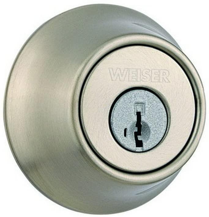 WEISER Lock GDC9471 15 KW K3 MS RLR2 Single Cylinder Deadbolt, Satin Nickel