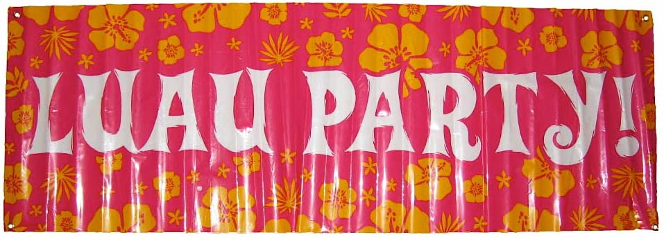 Luau Party! Giant Party Banner. 60 in X 20 in, Pink Floral, Includes Grommet Holes