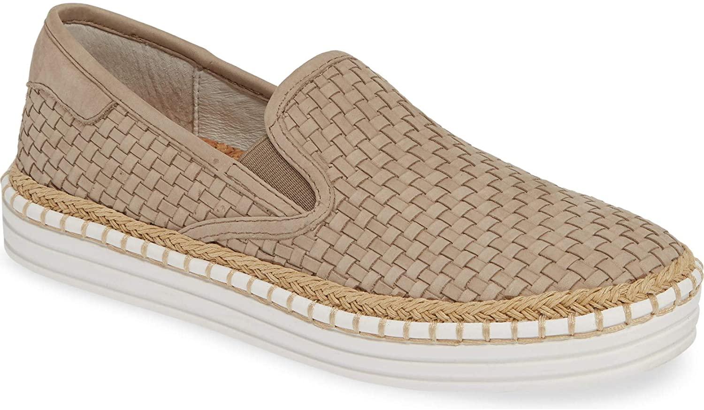 J Slides Kelly Woven Slip-On Fashion Taupe Platform Espadrille Loafer Sneaker (Taupe, 7)
