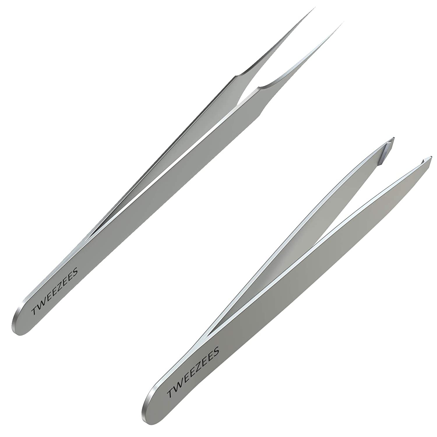 Tweezees Precision Stainless Steel Tweezers | Professional Slant Tip & Splinter Tip Tweezer | Extra Sharp Hair Removal Tool | For Eyebrow Shaping