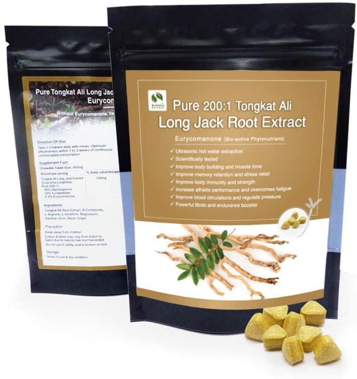 Malaysia Pure 200:1 Long Jack Tongkat Ali Root Powder Extract Tablet 2-3% Eurycomanone 30 Tablet