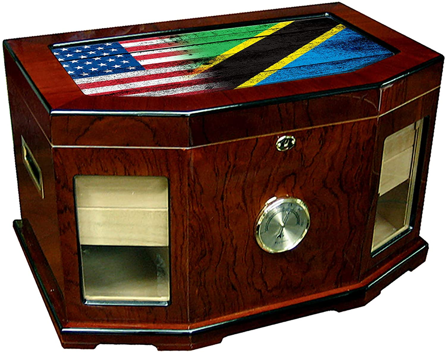 Large Premium Desktop Humidor - Glass Top - Flag of Tanzania (Tanzanian) - Wood with USA Flag - 300 Cigar Capacity - Cedar Lined with Two humidifiers & Large Front Mounted Hygrometer.