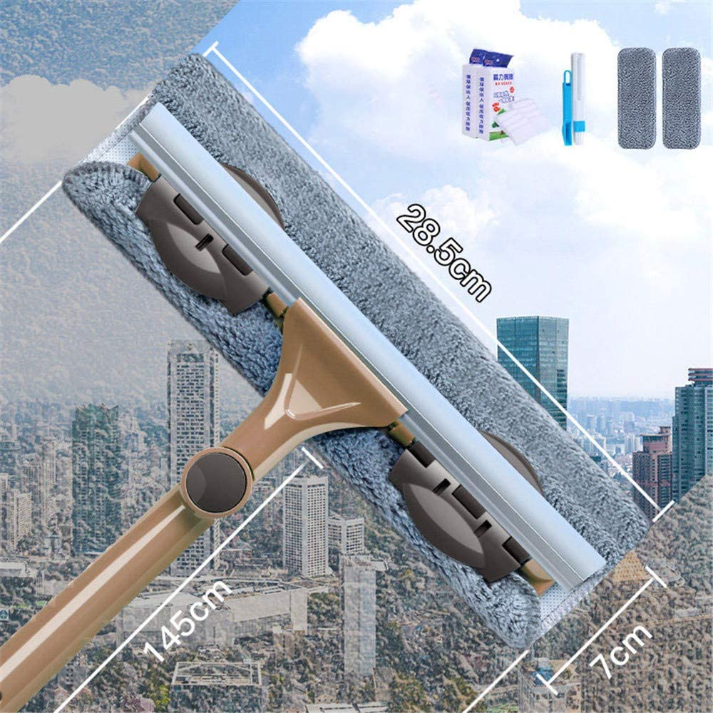 Window Shower Squeegee, 2 in 1 Window Cleaner with Telescopic Long Extension Pole, 145Cm Window Cleaning Tool with Bendable Head, Used for Gas Station, Glass, Shower, Outdoor High Window Cleaning