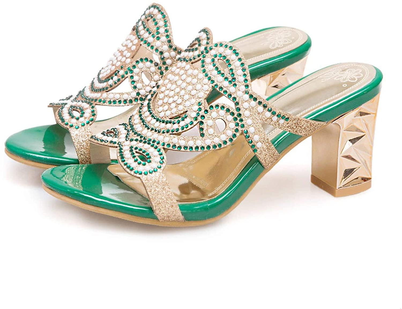2019 Luxury Women's Slipper Mules Crystal Golden Block High Heels Beads Rhinestone Embellished Glitter Slides Ladies
