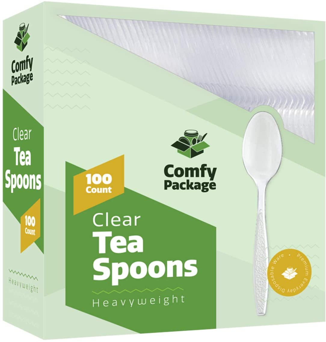 [100 Pack] Heavyweight Disposable Clear Plastic Teaspoons