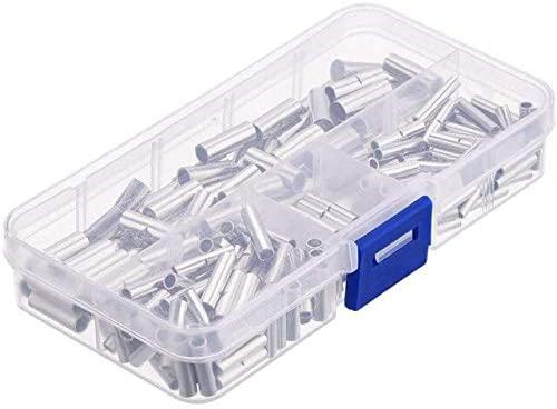 Davitu Terminals - Hot XD-200 Pieces Non-Insulated Butt Connectors 22-18AWG 16-14AWG 12-10AWG Non-Insulated Wire Ferrule Cable Crimp Terminal Kit f - (Color: Picture)