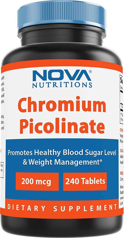Nova Nutritions Chromium Picolinate 200mcg 240 Tablets - Chromium Promotes Healthy Glucose Metabolism