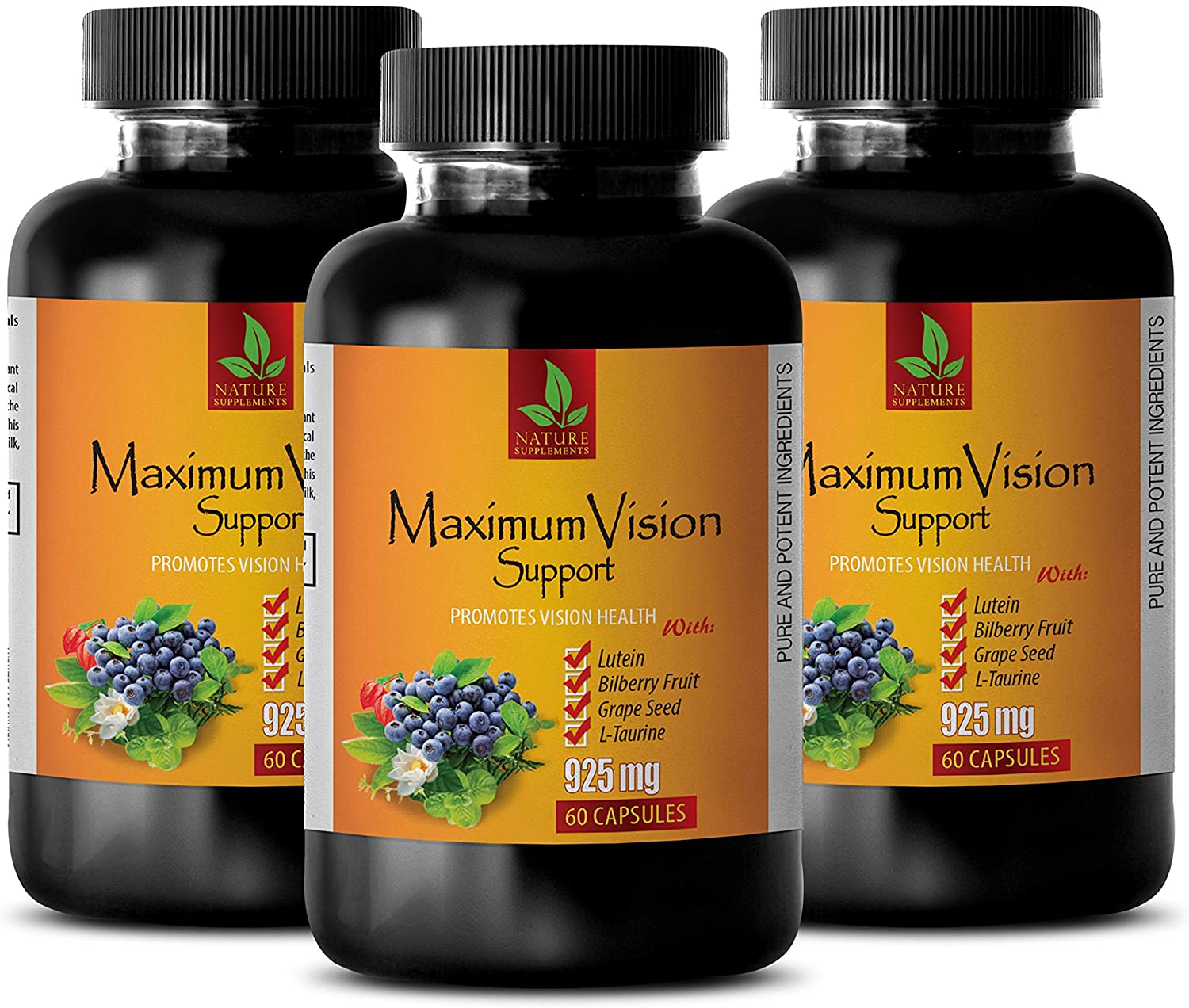 Vision Formula with Lutein - Maximum Vision Support - Promotes Vision Health - Grape Seed Extract Skin - 3 Bottle 180 Capsules
