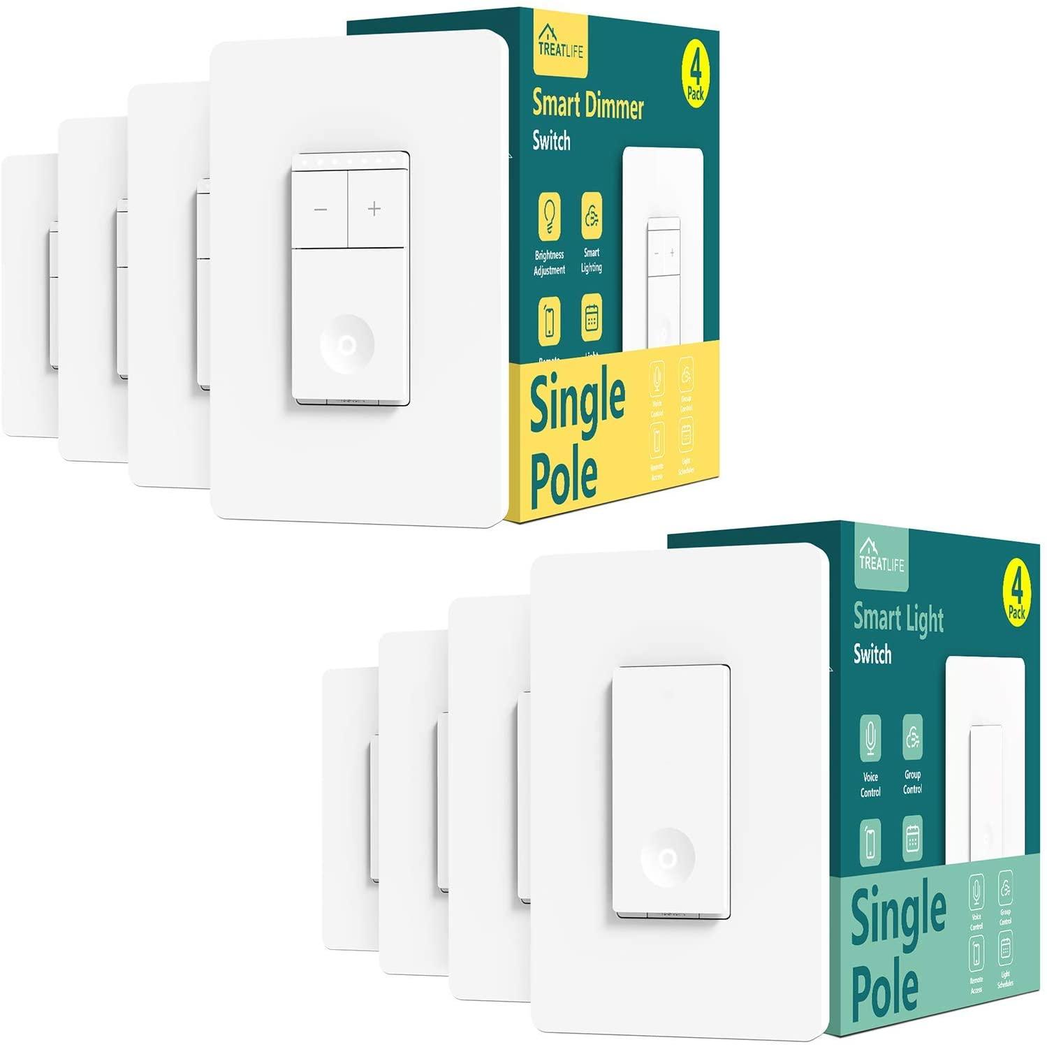 Smart Single Pole On/Off Switch 4Pack+Single Pole Dimmer Switch 4Pack Bundles