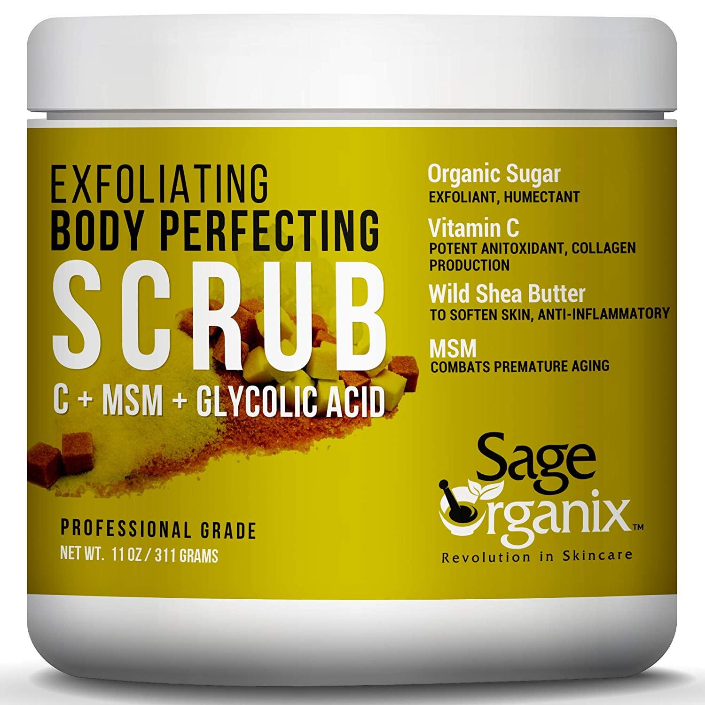 Sage Organix Exfoliating Body Perfecting Scrub With Vitamin C, MSM & Glycolic, Collagen Boosting Brightening Facial Body Scrub, Deep Cleanse & Minimize Pores, Anti Aging Wrinkles & Fine Lines, 11 oz