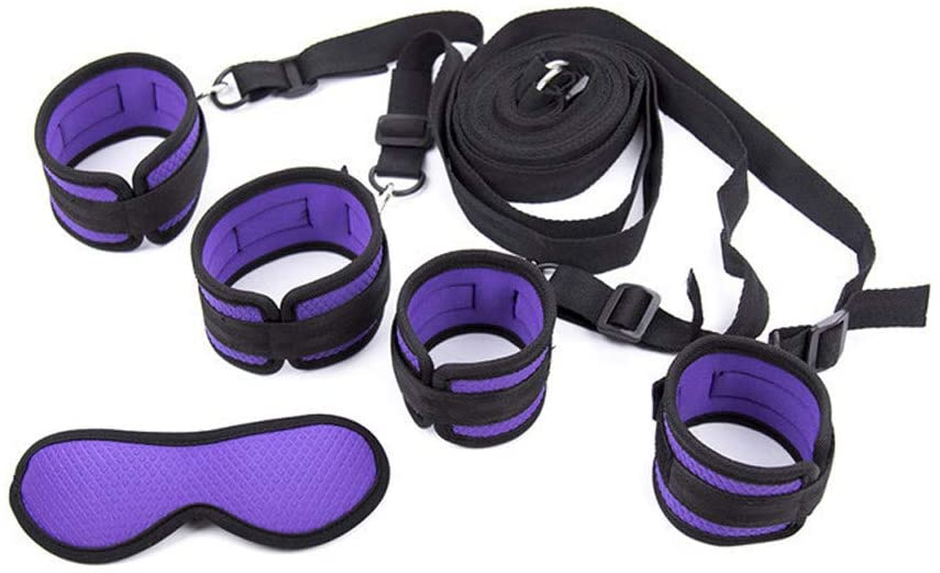 UOKNICE Sex Handcuffs in Bed and Eye Shield SM Accessories for Adults Intimate Melody(Purple)