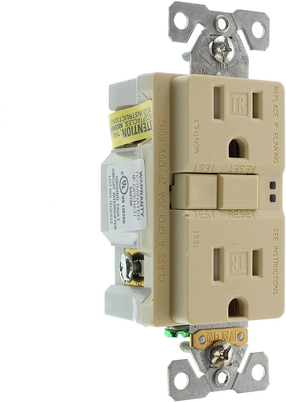 Eaton GFCI Self-Test 15A -125V Tamper Resistant Duplex Receptacle (3-Pack), Ivory