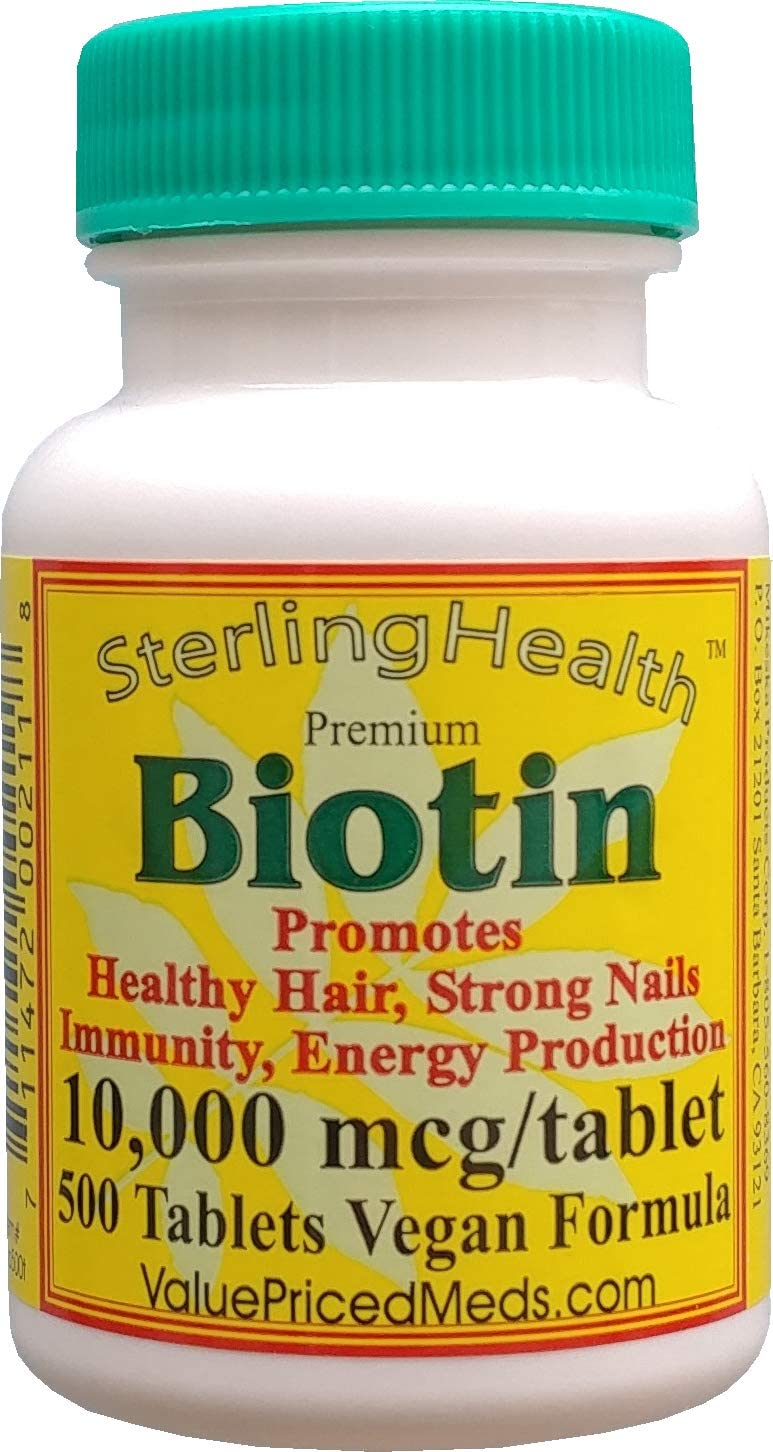 Biotin 10,000 mcg (500 Tablets) for Hair Growth, Skin, Strong Nails, biotin 10mg