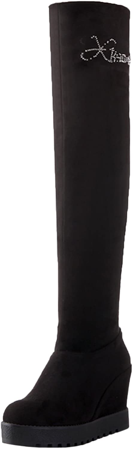 BIGTREE Thigh High Boots Women Elastic Increased Black Platform Rhinestones Wedge Over The Knee Boots