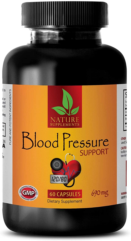 Herbal Blood Pressure Support - Blood Pressure Support 690 Mg - Dietary Supplements - Garlic Vitamins odorless - 1 Bottle 60 Capsules