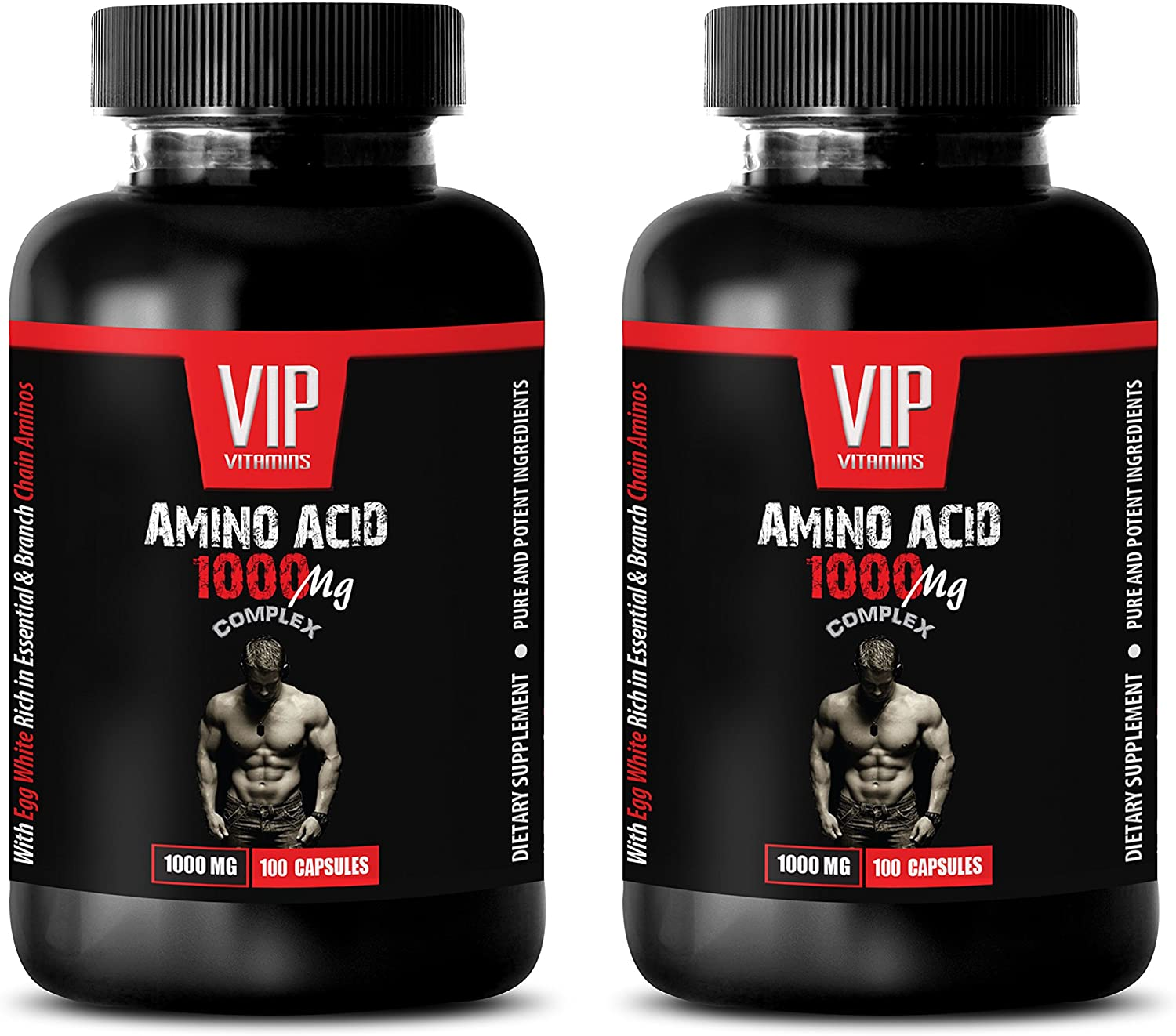 Bodybuilding Supplements for Men Muscle Grow - Amino Acid 1000 MG Complex - l-arginine Nitric Oxide Booster - 2 Bottles 200 Capsules