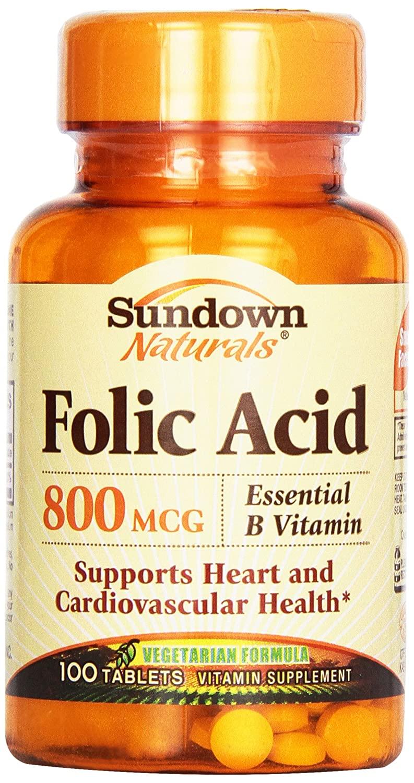 Sundown, Folic Acid 800 Mcg Tablets, 100 ct