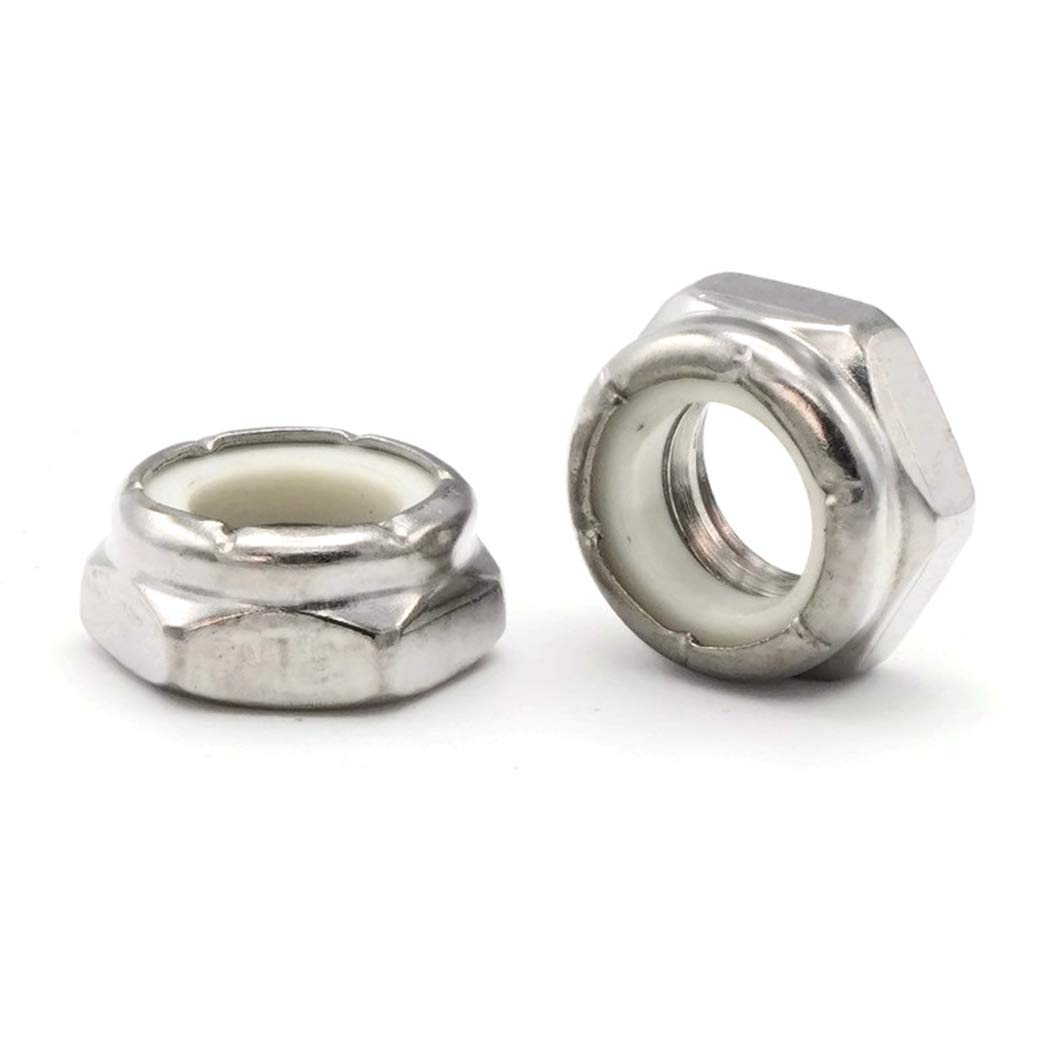 Nylon Hex Jam Lock Nut Nylock 18-8 Stainless Steel - 3/8-16 (.563 Flats x .150 Height) Qty-100