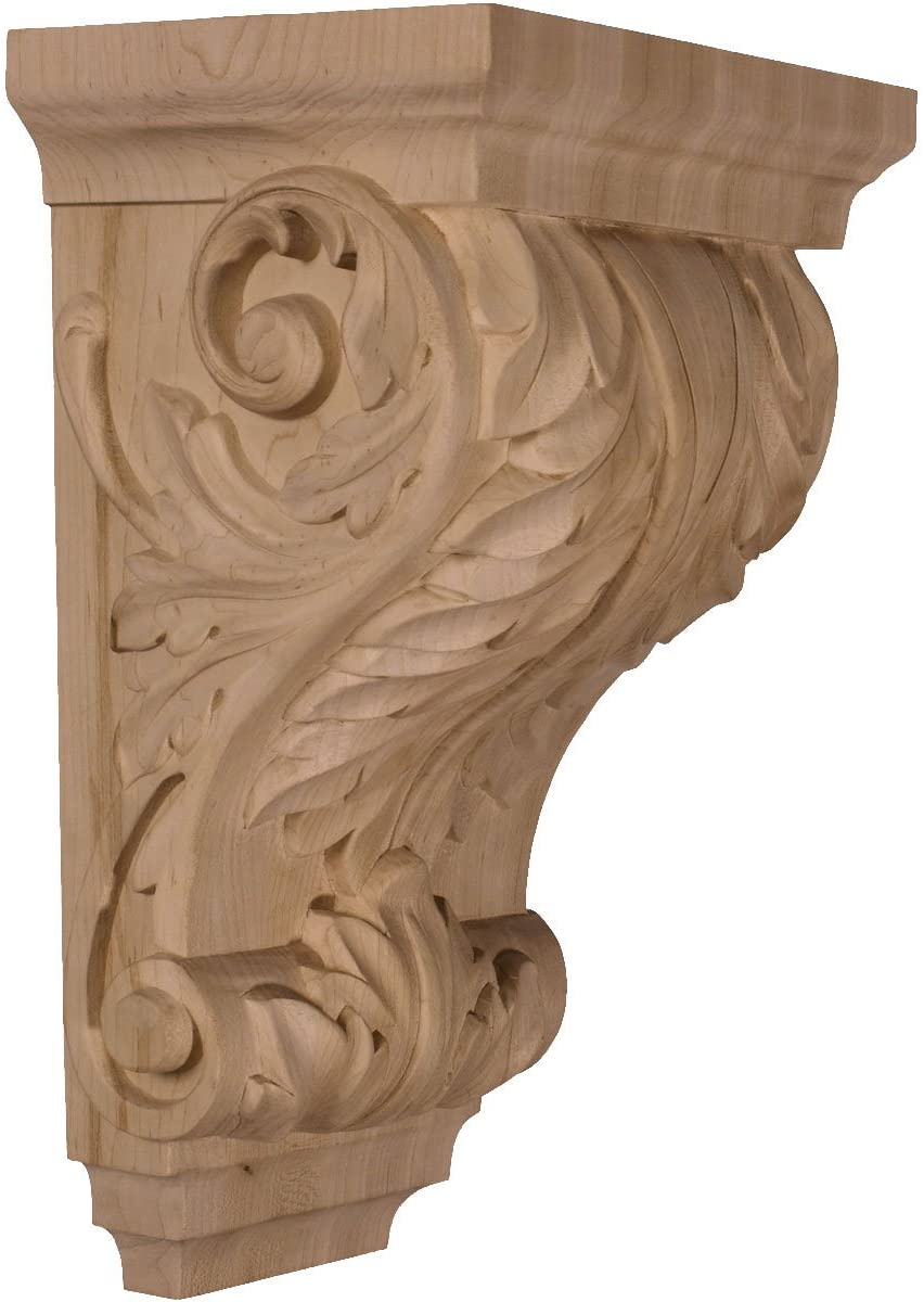 Ekena Millwork CORW08X06X14ACCH-CASE-4 8 1/2 inch W x 6 1/2 inch D x 14 inch H Large Wide Acanthus Wood Corbel, Cherry (4-Pack),