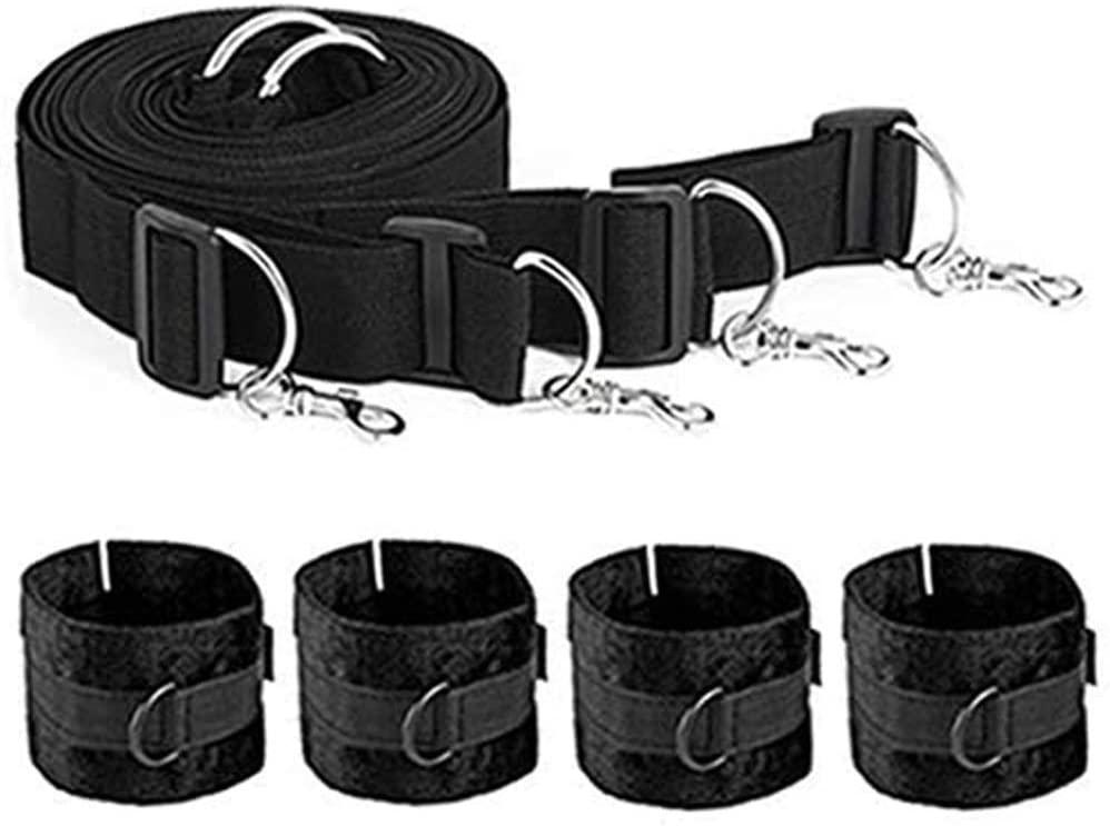 Micrkrowen Adjustable Bed Bɔndḁge Rḗstraints Strḁp Kit for Role Play Enjoy Toys with Soft Hàňscùffs and Ankle Wrist Cuffs Strḁps